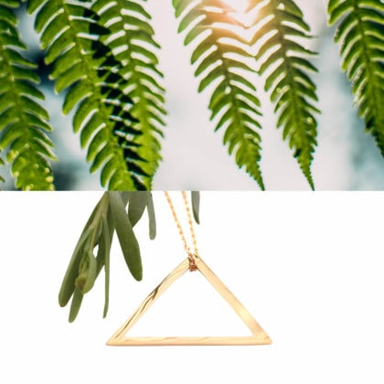 Collier geometrique triangla plaque or