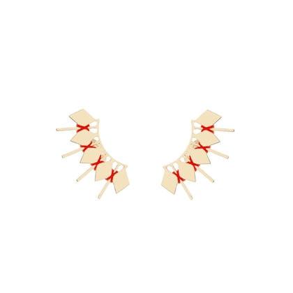 Boucles de créateur contour d'oreilles rouges chez poisson plume