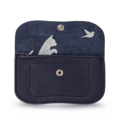 porte-monnaie bleu marine en cuir