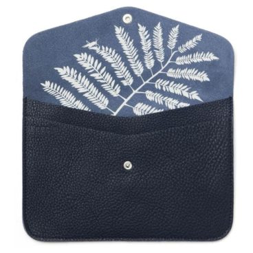 pochette de créateur en cuir bleu marine