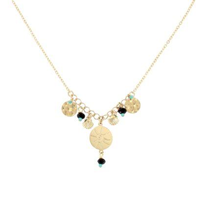 collier de créatrice doré et noir Laëti Trëma chez Poisson Plume bijoux