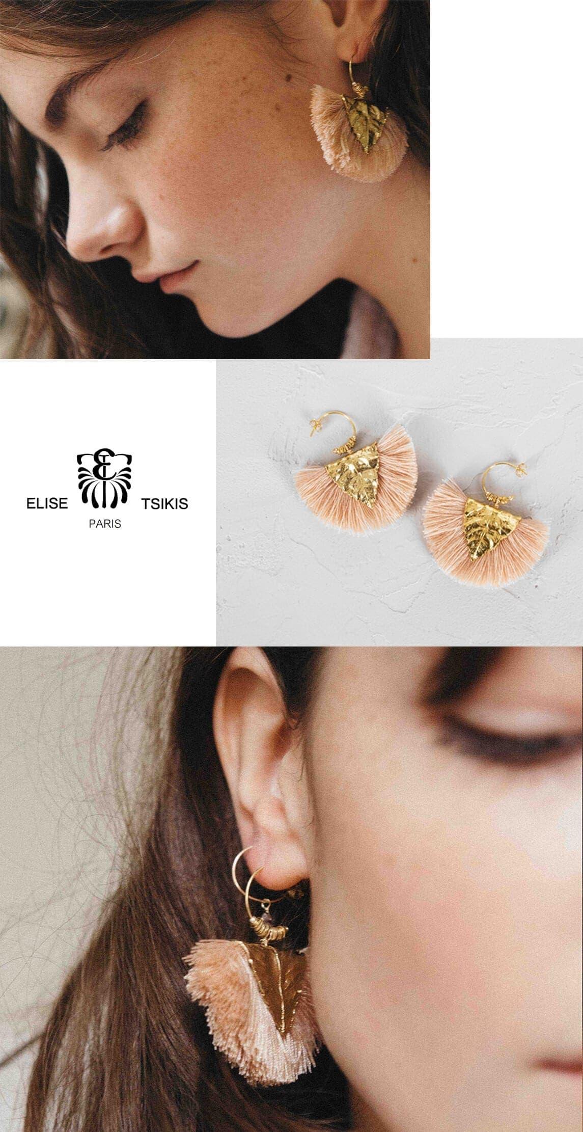 Boucles d'oreilles Agia Rose Poudré, de la créatrice Elise Tiskis chez Poisson Plume
