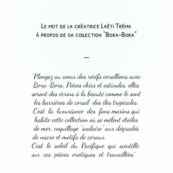 Collection Bora-Bora par la créatrice de bijoux Laëti Trëma