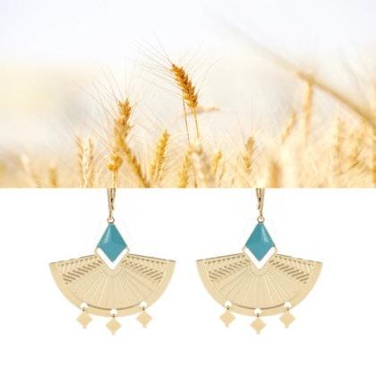 Boucles d'oreilles Kaili turquoise et doré made in France, chez Poisson Plume bijoux