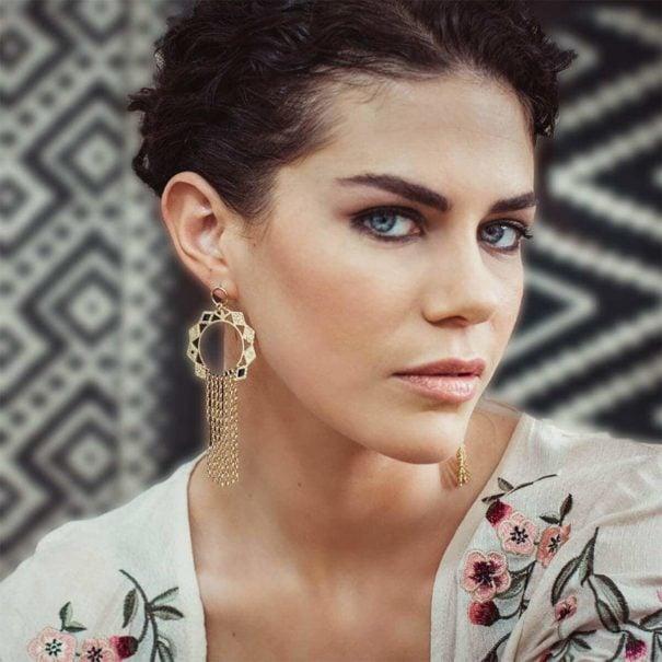 boucles d'oreilles pendantes dorées et turquoise Zagora