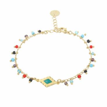 Bracelet fin de créateur avec perles, doré à l'or fin