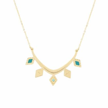 collier doré à l'or fin doré et turquoise