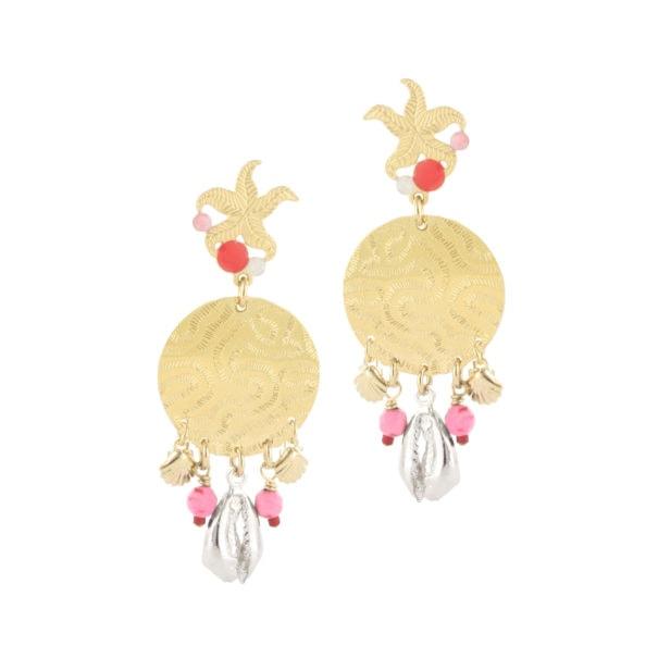 Boucles d'oreilles pendantes dorées Ocean corail Chez Poisson Plume bijoux