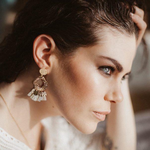 Boucles d'oreilles de la créatrice Laêti Trëma chez Poisson Plume bijoux
