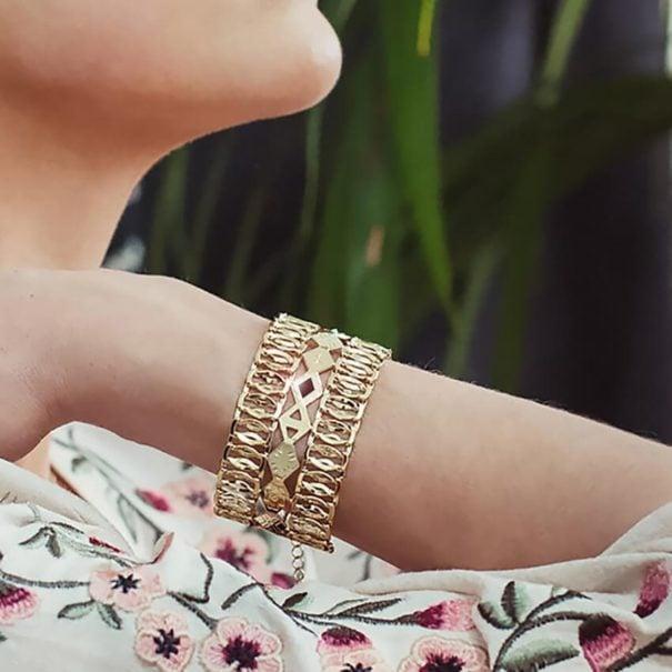Bracelet manchette de créateur, fait-main en France, chez Poisson Plume bijoux