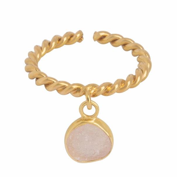 bague torsadée grelot quartz rose dera charlotte collection printemps ete Hanoï