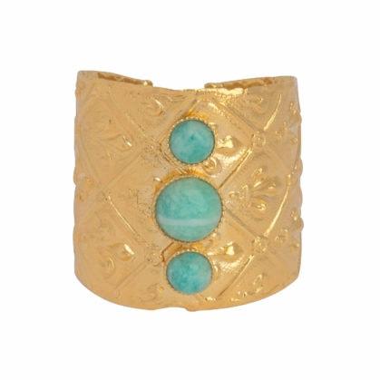 Bague Dear Charlotte dorée avec amazonite. Collection Mekong
