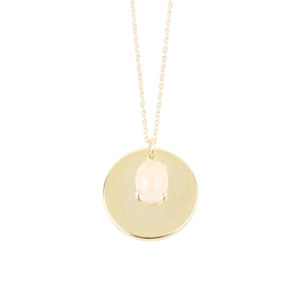 Collier médaille quartz rose