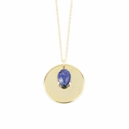 Collier médaille Sunny plaqué or et pierre bleue chez Poisson Plume