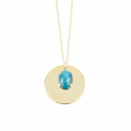 Collier méddaille doté d'une pierre fine turquoise