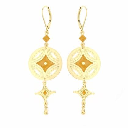 Boucles pendantes dorées et jaune, de la créatrice Laëti Trëma