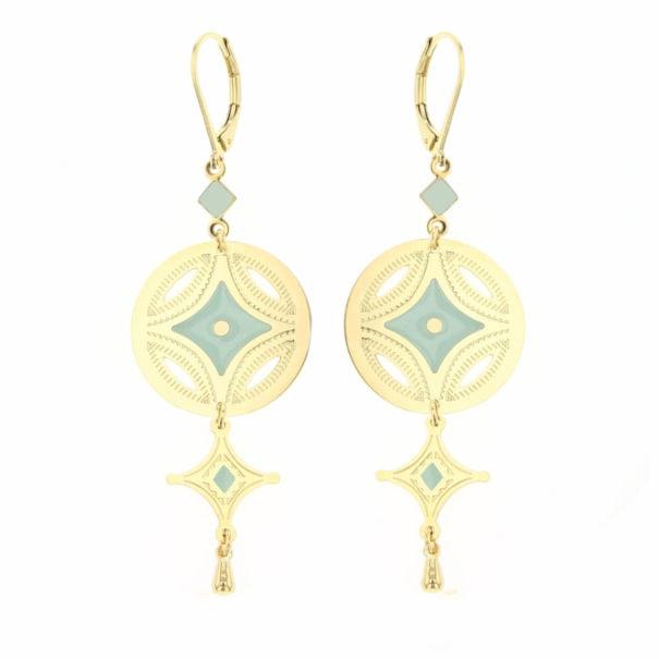 Boucles de créateurs pendantes dorées et bleu clair glacier, modeèle Caravane
