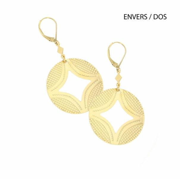 Boucles d'oreilles de créateur DUNE, dorées et corail, chez Poisson Plume