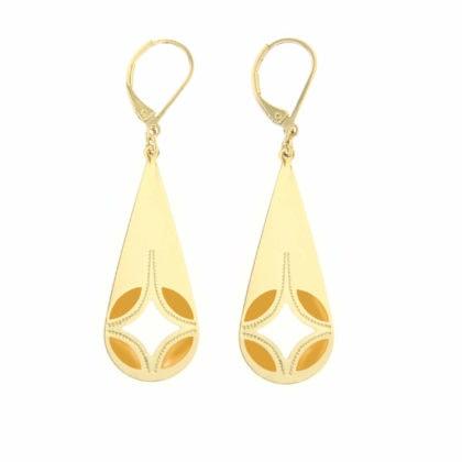 Boucles d'oreilles de créateur dorées et jaunes en forme de Goutte