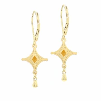 Boucles de créateur talisman étoile doré et jaune
