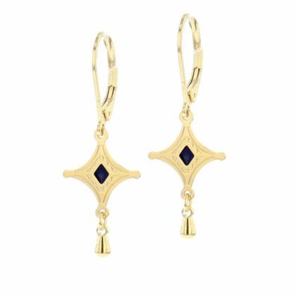 Boucles de créateur talisman étoile - doré et noir