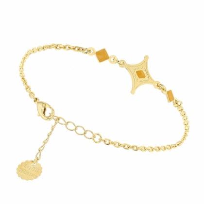 Bracelet talisman jaune miel ambré
