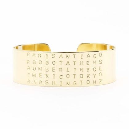 Bracelet gravé des villes du monde, doré à l'or fin