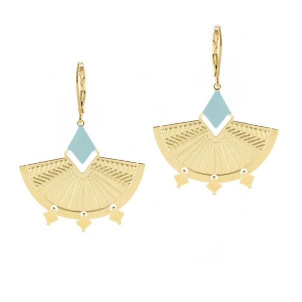 Boucles d'oreilles pendantes dorées et bleues Kaïli