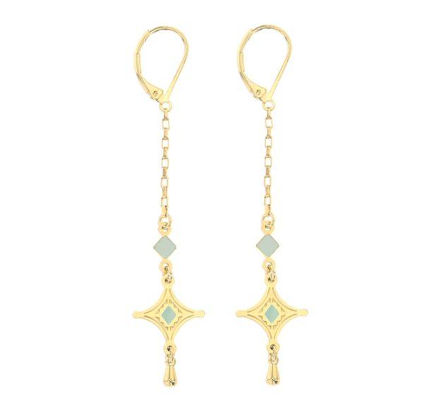 Boucles d'oreilles de créateur en forme d'étoile - doré et bleu