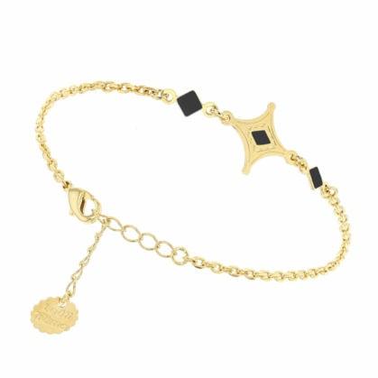 Bracelet fin de créateur étoile doré et noir