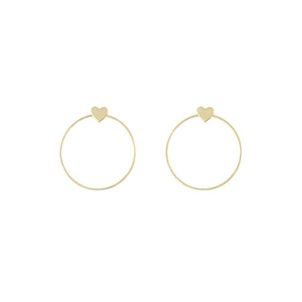 Bijoux boucles créoles coeur made in France dorées à l'or fin - christelle dit christensen