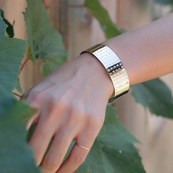 Manchette Bonheur, bracelet de créateur, chez Poisson Plume