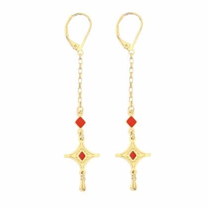 Boucles pendantes corail et dorées en forme détoile. Laëti Trëma chez Poisson Plume.