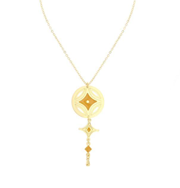 """Collier médaille doré à l'or fin et jaune, nommé """"Caravane"""""""