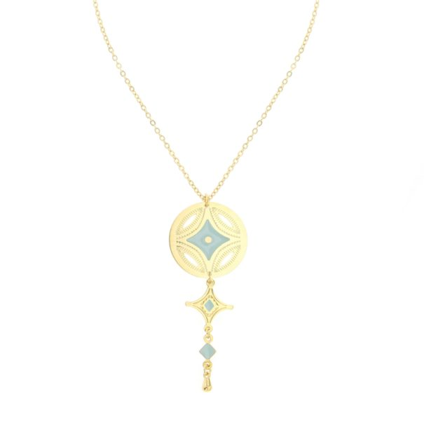 """Collier """"Caravane"""" médaille et pendentif étoile, signé Laëti Trëma"""