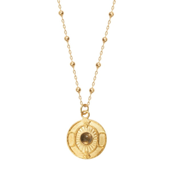 Collier médaille Labradorite, doré à l'or fin