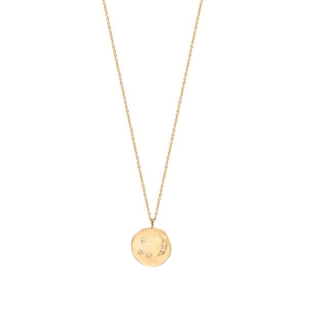 Collier médaille Divine Hours de Louise hendricks, avec une lune et des étoiles, chez Poisson Plume