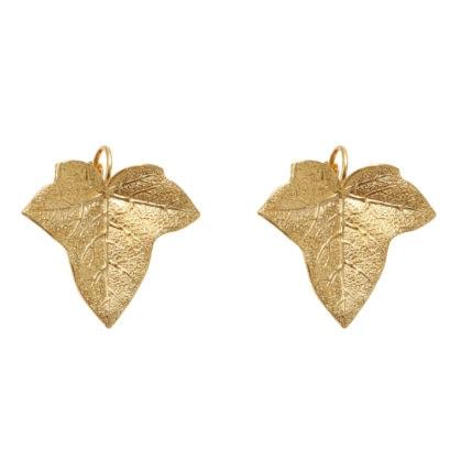 boucles d'oreilles feuilles dorées à l'or fin, de Dear Charlotte