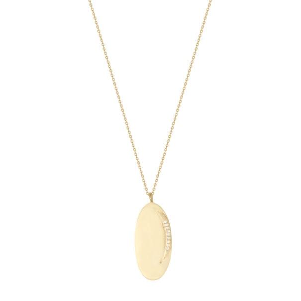 Médaille ovale dotée d'une Lune, par Louise Hendrocks. Chez Poisson Plume Bijoux