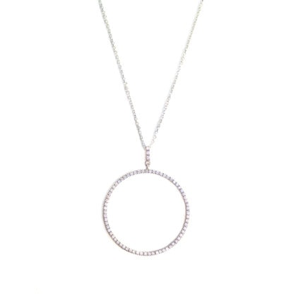collier monteverde grande cercle et brillant - argent