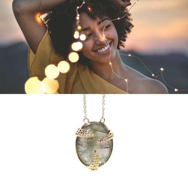 Collier Wild doré à l'or fin. Un bijou de la nouvelle collection d'Alexandra Margnat. Chez Poisson Plume