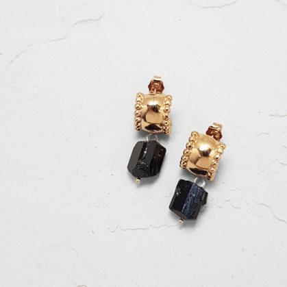 bouocles d'oreilles styra avec pierre fine Onyx