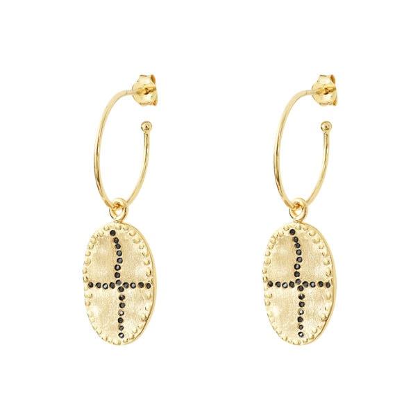 Boucles créoles Bazile Black. Des bijoux médaille chez Poisson Plume.