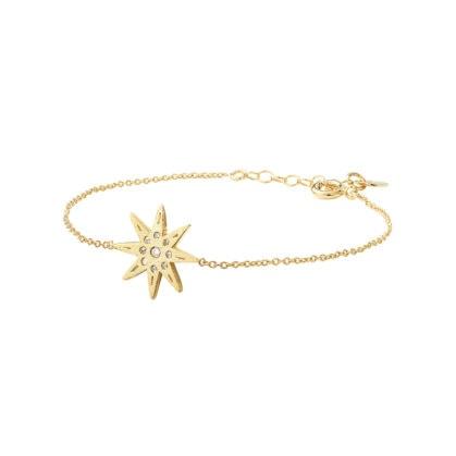 Bracelet fin étoile nommé Electra, de la créatrice Louise hendricks. En vente chez Poisson Plume