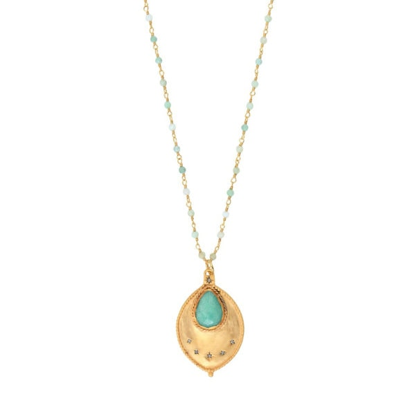 Sautoir laba : un médaillon en forme de goutte, doté d'une pierre fine Chrysoprase. Un bjou de créateur, chez Poisson Plume.