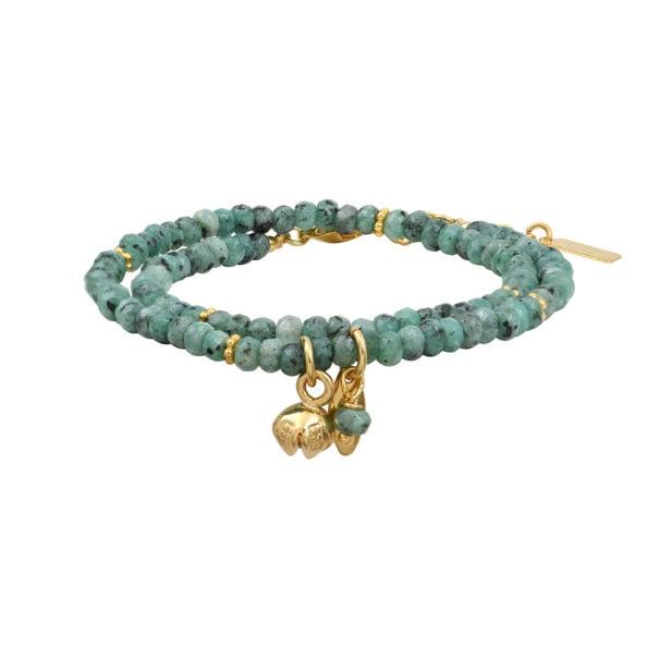 bracelet rita en pierres naturelles amazonite, dela créatrice leticia ponti, en vente dans la bijouterie Poisson Plume