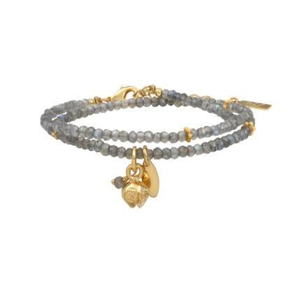 Bracelet double tour rite, en pierres anturelles Labradorite. A retrouver dans la bijouterie Poisson Plume