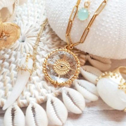 Collier Luck talisman Cristal porte-bonheur, de chez Leticia ponti. En vente dans la bijouterie de créateurs Poisson Plume