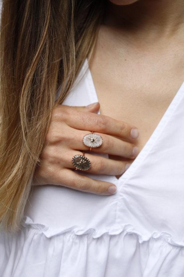 Collection de bagues Amulet pierre Labradorite par Alexiane Bijoux chez Poisson Plume bijouterie