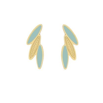 Boucles de createur dorée et bleu pastel en forme de plumes. En vente dans la bijouterie Poisson Plume